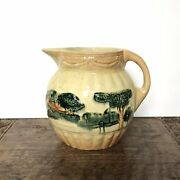 Early Vintage Roseville Pottery, Landscape, Yellow Ware Ceramic Pitcher, Mint