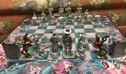Native American Cowboy And Indian Signed Pewter Figurines Chess Set Lead Horse Htf