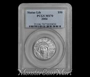 2004 50 Platinum Statue Of Liberty Pcgs Ms70 - Very Tough Coin Now On Sale