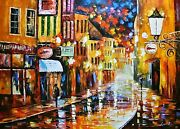 Leonid Afremov-lights Of The Old Town-original Oil/canvas/hand Signed/coa/54x40