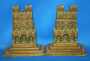 A Pair Of Antique Reims Cathedral Design Bookends Solid Brass Gothic Medieval