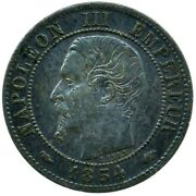 Coin / France / 1 Centime 1854a Aunc Beautiful Collectible  Wt25184