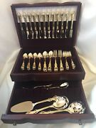 Towle Supreme Cutlery Gold King Arthur Silverware 76 Pc With Storage Chest