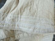 Threshold Farmhouse Edge Embroidered Tan King Quilt Nwot