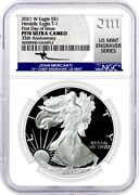 2021 W Silver Eagle T-1 Heraldic Ngc Pf70 First Day Of Issue - Mercanti