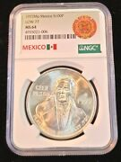 1977 Mexico Silver 100 Pesos S100p Low 77 Variety Ngc Ms 64 Frosty Bright Bu