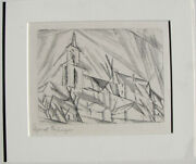 Lyonel Feininger Original Signed Etching Andndash Teltow 1 Andndash 1914 Early 1950andrsquos Print