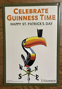 New Celebrate Guinness Beer Toucan St. Patrick's Day Wall Tin Sign 18.5 X 13 In