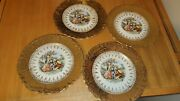 Vintage Crest O Gold 22k Trim Plates Lot Of Four Colonial Sabin 9 In