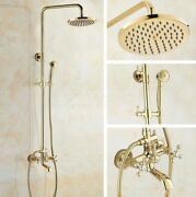 Polished Gold Bathroom Shower Faucet Set Wall Mount Dual Handle With Handshower
