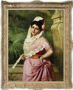 Old Master-art Antique Oil Painting Portraits Noblewoman On Canvas 24x36
