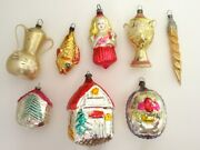 Lot Of 8 Antique/vintage Glass Figural Christmas Ornaments, Girl, Urns, Houses