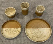 Joe Gafford Signed Studio Pottery Wheel Thrown Caramel And Tan Dishes 37 Pieces