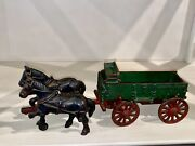Antique 1920's Toy By Arcade. Cast Iron Horses Pulling A Wagon Nice Condition.