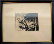 Real Rembrandt Van Rijn Joseph And Potipharand039s Wife Etching 1634