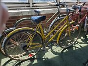 Rare Antique Yellow Raleigh Sprite Made England Womens Bicycle Brooks Seat