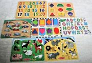 7 Melissa And Doug Puzzle Lot Animals Letters Numbers Shapes Cars Sound