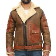 Mens Three Shades Of Brown Leather And Cream Shearling Sheepskin Bomber Jacket