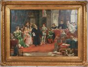 Antique Painting Continental Oil Gilt Frame 1800s Court Scene Signed
