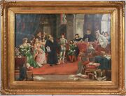 Continental Oil Painting 19th Century 1800s Court Scene