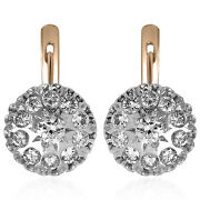 Russian Style 14k Solid Rose And White Gold Genuine 2.16ct G Si1 Diamond Earrings