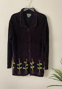 Vintage Papy Boez Black Knitted Sweater Cardigan Textured Flowers Small/med