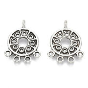 50x Tibetan Silver Alloy Flat Round Chandelier Components Links Charms 23x17.5mm