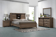 New Rustic Brown Queen King 4pc Bed Set Sliding-door Farmhouse Furniture B/d/m/n