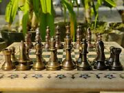 Indian Chess Board In Pink Marble With Metal Pieces Brass And Copper Luxury