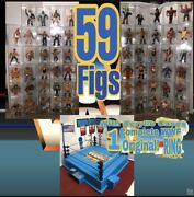 🔥wwf Hasbro 59 Figs And Cases Original Rare Complete Ring Belt /stickers /cards🔥