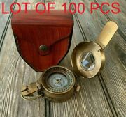 Vintage Handmade Working Style Solid Brass Wwii Military Pocket Compass Fav Gift