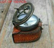 Nautical Astrolabe Solid Brass Antique Working Compass With Leather Case Gift