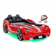 Kids Race Car Bed Frame Remote Controlled Led Headlights Engine Soundtwin Red
