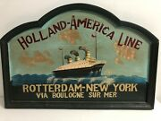 Holland America Line Rotterdam - New York Huge Wooden Paint And Reliev Cruise Ship