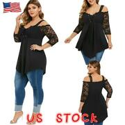 Plus Size Women Lace Long Sleevel Tops Ladies Casual Shirt Gothic Tunic Blouse