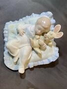 Retired Lladro 6791 Baby Boy Holding Bunny Sleeping On Pillow Taking A Snooze
