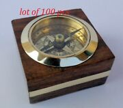 Nautical World Brass Magnetic Nautical Compass In Wooden Box Lot Of 100 Pcs