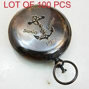 Vintage Handmade Push Button Compass Antique Brass Compass Pocket Style Gift