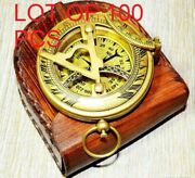 Antique Brass Sundial Push Button Pocket Compass With Leather Case Handmade Gift