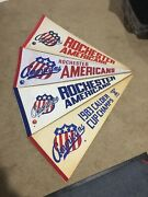 Vintage 1970's 80's Lot 4 Rochester Americans Hockey Pennants Ahl
