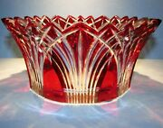 Caesar Crystal Red Bowl Hand Cut To Clear Overlay Czech Bohemian Cased Blown