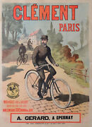 Clement Cycles Paris By Ancourt Gold Medal Early Vintage Cycles Poster