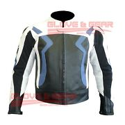 Bmw 3875 Blue Motorcycle Handmade Tailored Cowhide Leather Armoured Jacket