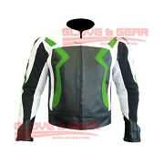 Bmw 3875 Motorcycle Handmade Tailored Green Cowhide Leather Armoured Jacket