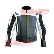 Navy Blue Bmw 3875 Motorcycle Handmade Tailored Cowhide Leather Armoured Jacket