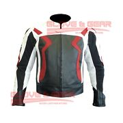 Bmw 3875 Motorcycle Handmade Tailored Red Cowhide Leather Armoured Jacket
