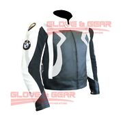 Bmw 3875 Silver Motorcycle Handmade Tailored Cowhide Leather Armoured Jacket