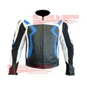 Bmw 3875 Sky Blue Motorcycle Handmade Tailored Cowhide Leather Armoured Jacket