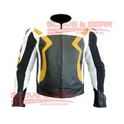 Bmw 3875 Yellow Motorcycle Handmade Tailored Cowhide Leather Armoured Jacket
