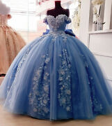 Dusty Blue Quinceanera Dress 3d Floral Applique Off Shoulder Sweet 16 With Bow